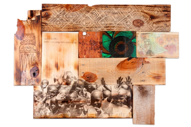 SHANNA STRAUSS_ Hadithi Njoo_ Mixed media on wood_ 24in x 30''